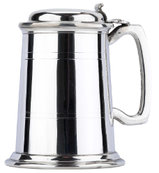 Commodore Two Line Fine English Pewter Tankard with Lid