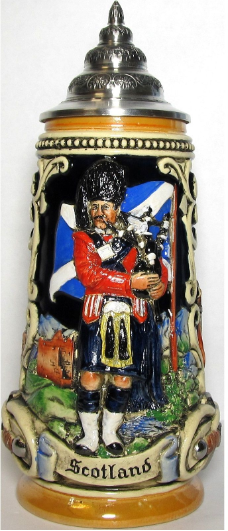 Scottish Bagpiper -LE- German Beer Stein .5L