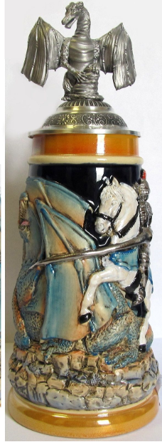 Medieval Knight Fighting Dragon with Dragon Lid LE .5 L