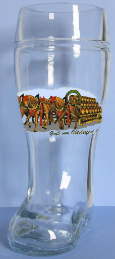 Gruss Vom Oktoberfest German Glass Beer Boot 1 Liter