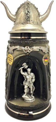 Viking Warrior with Pewter Viking Helmet Beer Stein .5L