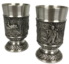 Deer and Elk Hunters German Pewter Shot Glasses