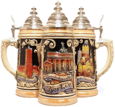 German Beer Stein with Berlin Germany Relief .5L