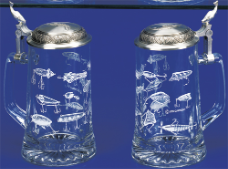 German Glass Etched Fishing Lures Beer Stein