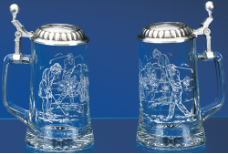 German Beer Stein - Golfing Etched Glass Stein