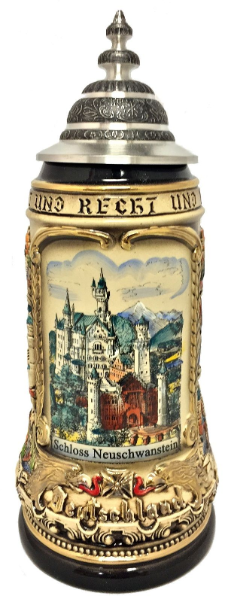 Neuschwanstein Castle with German Cities LE German Beer Stein 1 L