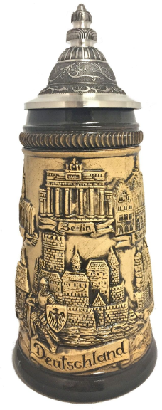 Rustic Natural German Cities Panorama German Beer Stein .25L