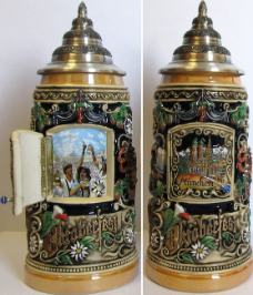 German Beer Stein - LE - Oktoberfest Scene with Opening Door .75L