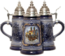 German Beer Stein - Blue Munich Octoberfest 1/4L