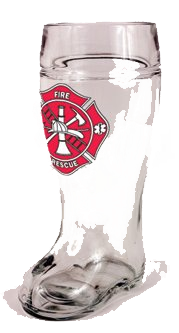 Fireman Firefighter Maltese Cross Glass One Liter Beer Boot