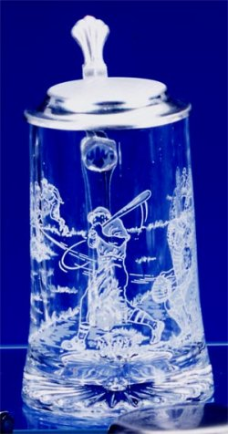Glass Beer Stein - Baseball