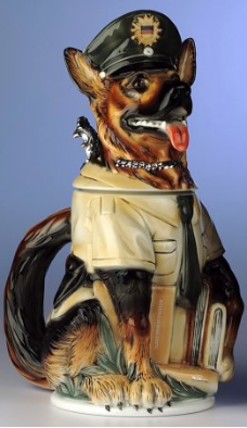 German Beer Stein - LE - German Shepherd 3D Police Dog