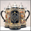 German Beer Stein - Germany City with Pewter Eagle LE   1L