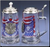 Patriotic USA Glass Beer Stein